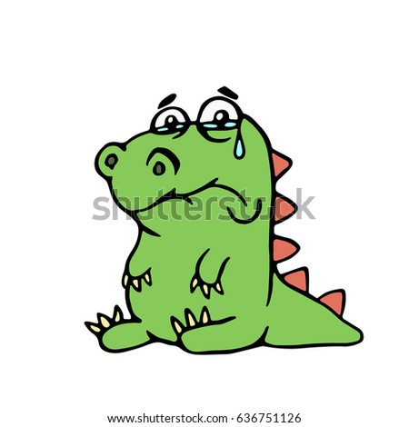cute unhappy dinosaur vector