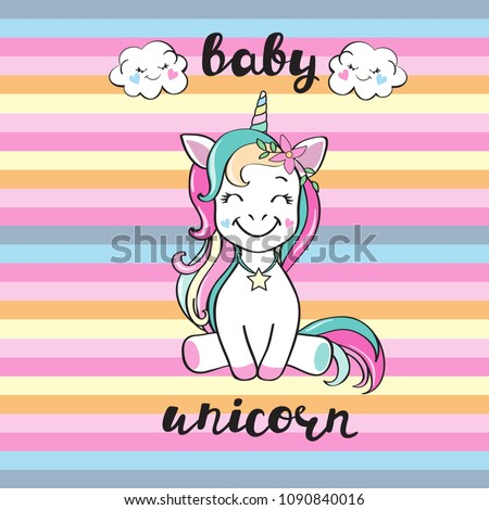 Cute unicorn and inscription baby unicorn