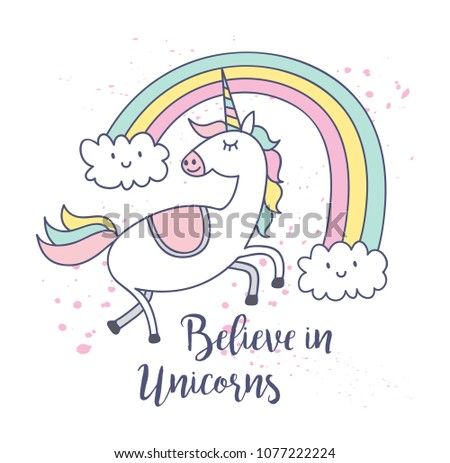 cute unicorn and rainbow t