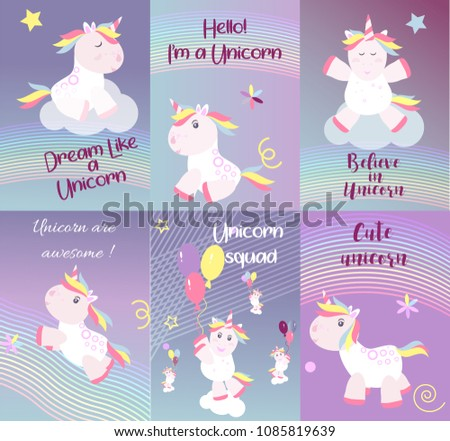 Cute unicorn cards magic baby vector. Fantasy animal lovely horn head illustration sweet horse dream cartoon rainbow. Beautiful funny pony star happy graphic card pink color fairy fairytale children.