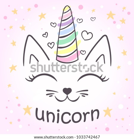 cute unicorn cat For the design of posters, T-shirts. print