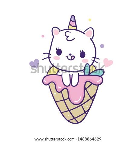 Cute Unicorn cat mermaid vector with sweet ice cream cone cartoon (Kawaii animal): Pastel color kid food dessert bakery product fabulous fashion child decoration cafe shop, Invitation post, t-shirt