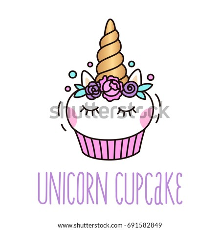 Stock Photo Cute unicorn cupcake on a white background. It can be used for card, sticker, patch, phone case, poster, t-shirt, mug etc.