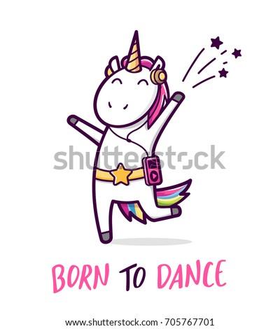 cute unicorn dancing like a