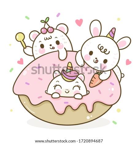 Cute unicorn donut vector and friend rabbit cartoon bear: Series Girly doodles (Kawaii animal) pet zoo Kid food bakery product fabulous fashion child décor cafe shop, Invitation post, t-shirt.