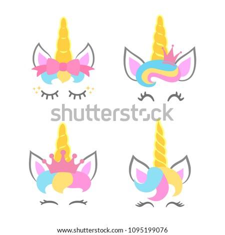 Cute unicorn faces. Unicorn heads. Unicorn constructor. Vector illustration