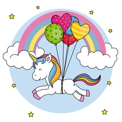 Cute unicorn flying with balloons and rainbow background