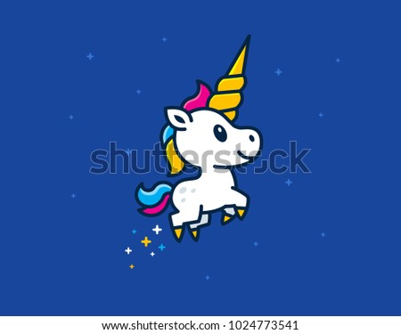cute unicorn foal with big horn