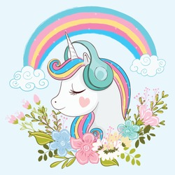 Cute unicorn illustration with flowers.