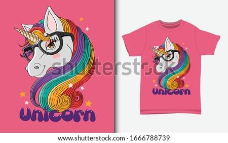 Cute unicorn illustration with t-shirt design, Hand drawn Сток-фото ©