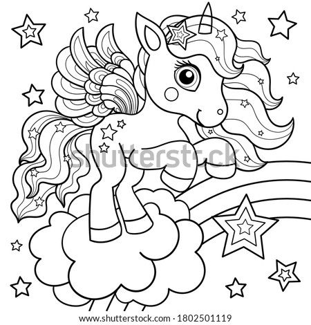 Cute unicorn on a rainbow with stars. Black and white children's illustration. For the design of coloring books, postcards, prints, posters, tattoos. stickers, etc. Vector