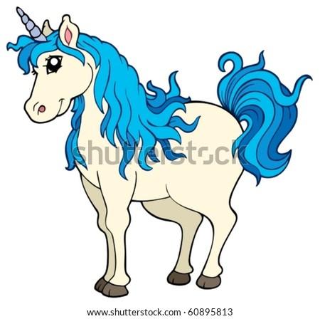 Cute unicorn on white background - vector illustration.