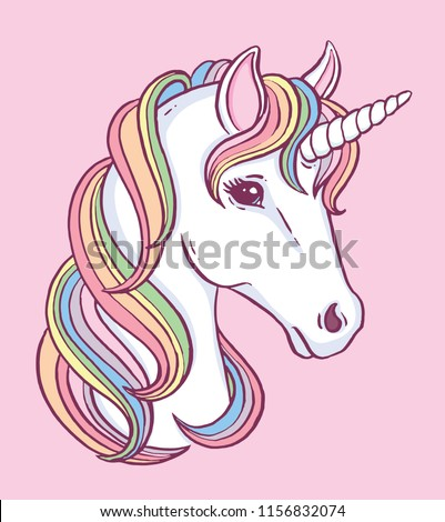 Cute unicorn portrait with beautiful rainbow mane. Vector illustration.