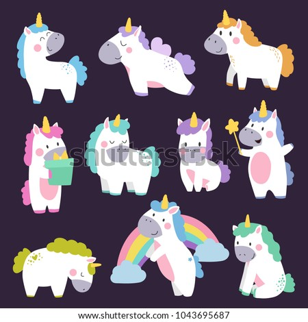 Cute unicorn set hand drawn cartoon. Vector Illustration design for cards, posters, t-shirts, invitations, baby shower, birthday, room decor.