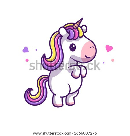 Cute Unicorn Standing Vector Icon Illustration. Unicorn Mascot Cartoon Character. Animal Icon Concept White Isolated. Flat Cartoon Style Suitable for Web Landing Page, Banner, Flyer, Sticker, Card