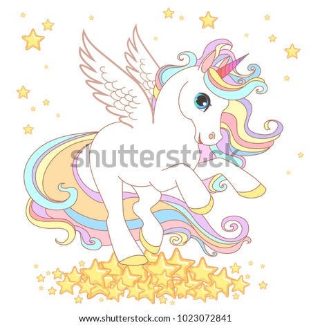 Cute Unicorn vector illustration for children design. Gold  hair. White wings. Cute fantasy animal on the rainbow