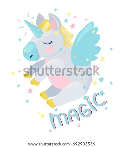 Cute Unicorn Vector Illustration, pegas vector #692903536