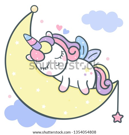 Cute Unicorn vector moon cartoon with magic sleeping time for sweet dream, Kawaii style, Cute fairytale pony Happy Birthday Party. Doodle pony. Perfect for kid's greeting card design, t-shirt print.