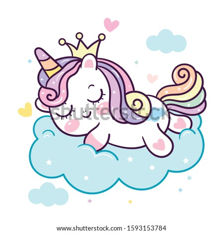 Cute Unicorn vector pony cartoon on cloud Princess: magic sleeping time for sweet dream Good night, Kawaii animal fairy character girly doodles. Perfect for invitations,children books, fashion,banner.