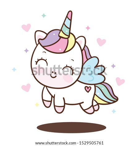 Cute Unicorn vector pony child princess angel animal, sweet pastel color (Illustration): Doodle Nursery decoration, hand drawn. Perfect for kid greeting card, Print t shirt, fashion artworks.