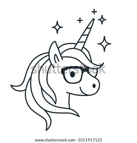 cute unicorn wearing eyeglasses