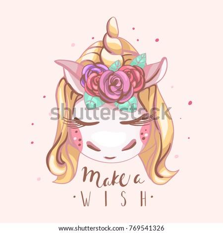 cute unicorn with blond hair