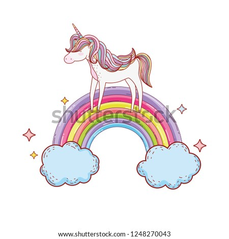 stock-vector-cute-unicorn-with-clouds-and-rainbow