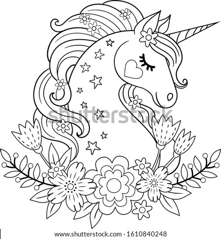 Cute unicorn with flowers. Isolated outline for coloring book Stock photo ©