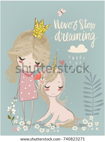 cute unicorn with princess