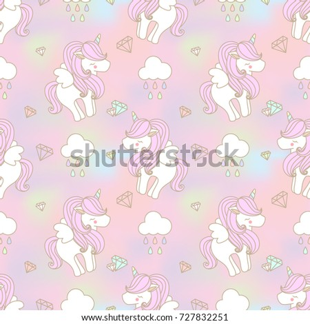 cute unicorn with wing seamless