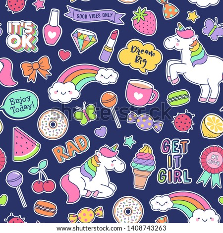 Cute unicorns , girl's elements and inspiration quotes seamless pattern background. #1408743263