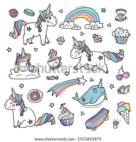 cute unicorns in rainbow colors