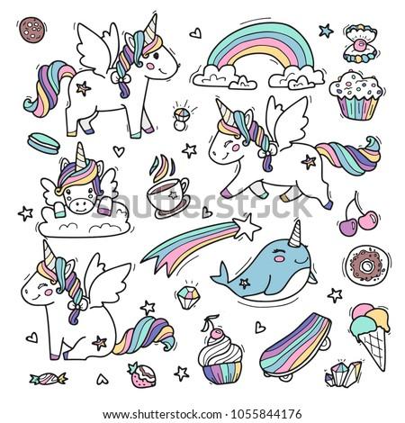 cute unicorns whit wings in