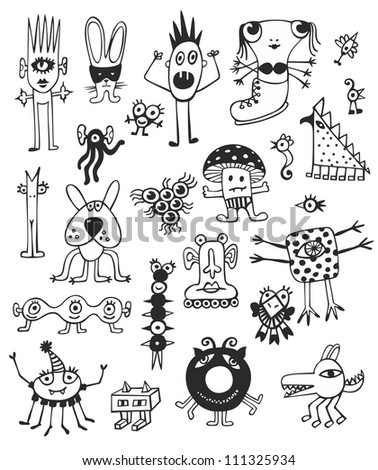 Cute Unusual Black And White Monsters