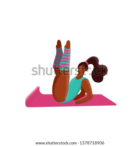 Cute unusual character girl lifted her legs up. Gym Fitness Woman. Sport Figure. Healthy Aerobic Lifestyle Concept.Woman flirts in aerobics classes.Gymnastic training flat doodle textured illustration