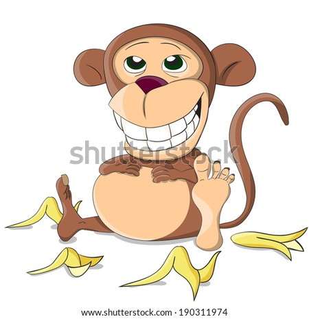 cute unusual full vector monkey