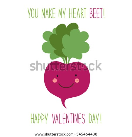Cute unusual hand drawn Valentines Day card with funny cartoon character of beet and hand written note