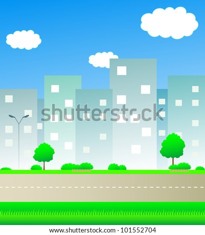 cute urban landscape with road and space for text