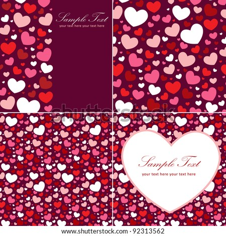 Cute Valentine heart set of congratulation cards and seamless backgrounds