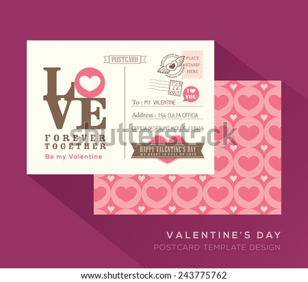 Cute Valentine LOVE postcard card design Vector Template