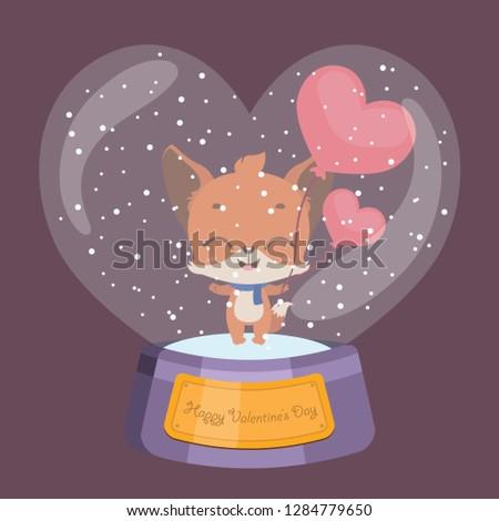 Cute Valentine's Day snowglobe with fox