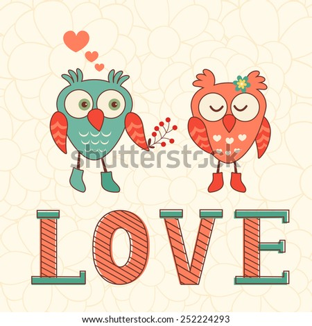 Cute Valentines day card with two owls in love Vector illustration