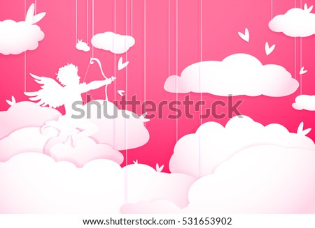 Cute Valentines day greeting card with Cupid in clouds, paper cut decoration. Hand drawn elements, vector illustration. Hearts, happy love angel for Valentines day holidays.