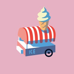 Cute van with ice cream. Vector illustration on a pink background. red blue pink color. tasty ice cream seller