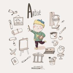 Cute vector alphabet Profession. Letter A - Artist