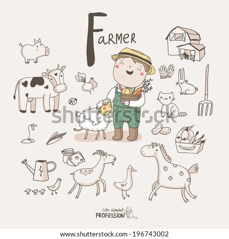 Cute vector alphabet Profession. Letter F - Farmer