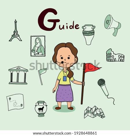 Cute vector alphabet Profession. Letter G - Guide Stok fotoğraf ©