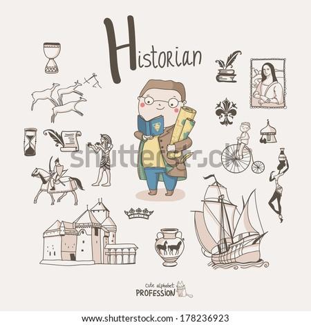 Cute vector alphabet Profession. Letter H - Historian