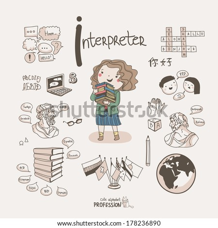Cute vector alphabet Profession Letter I Interpreter