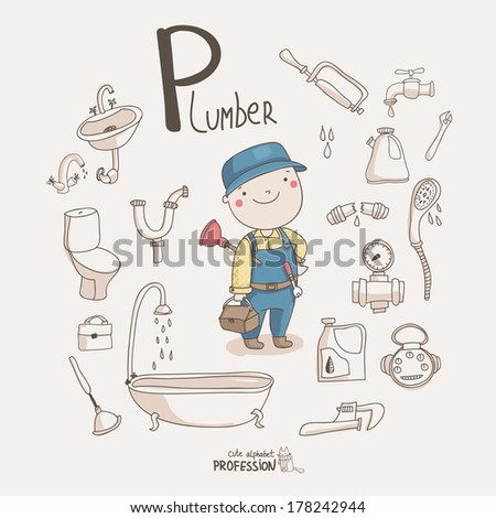 Cute vector alphabet Profession Letter P Plumber